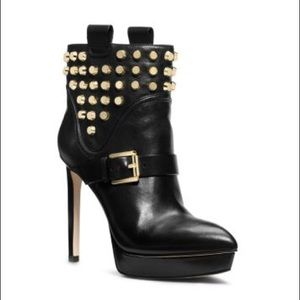 Michael Kors Studded Black Leather Ankle Boots